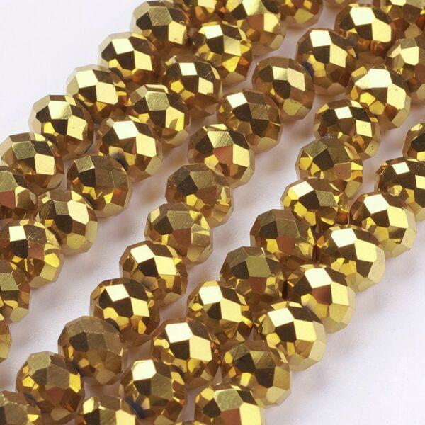 10db Csiszolt arany üveggyöngy (8x6mm)