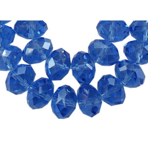 10db Csiszolt sötét kék üveggyöngy (8x6mm)