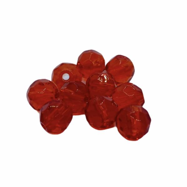 10db Csiszolt piros üveggyöngy (6mm)