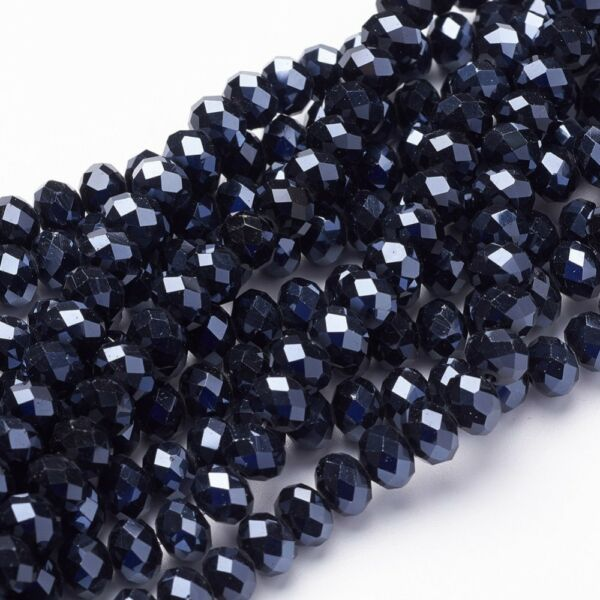 10db Csiszolt fekete üveggyöngy (8x5mm)