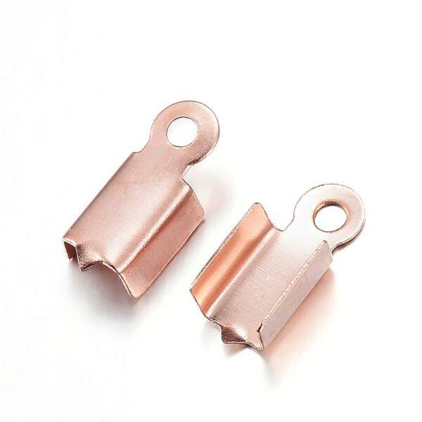 Nemesacél rozé arany színű bőrvégzáró (10x4x3mm)