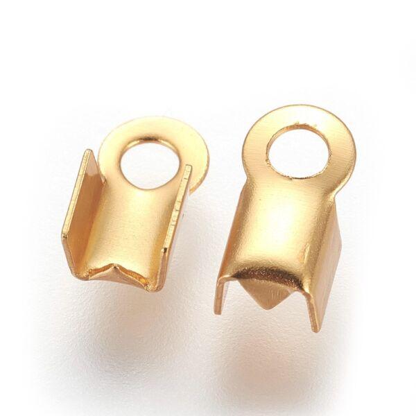 1db Arany színű nemesacél bőrvégzáró (8x4mm)