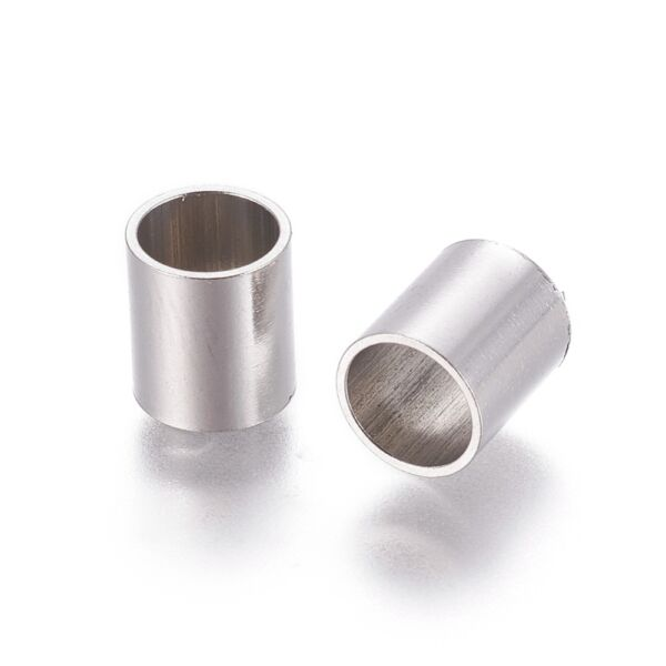 Nemesacél cső alakú gyöngy (12x9mm)
