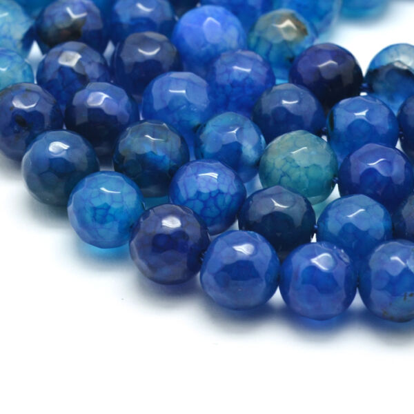Csiszolt festett kék achát ásványgyöngy (8mm)/10db
