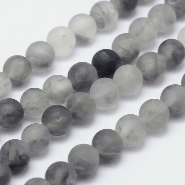 Matt füstös kvarc ásványgyöngy (8mm)/10db