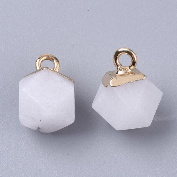 Fehér jade ásványmedál (12x10mm)