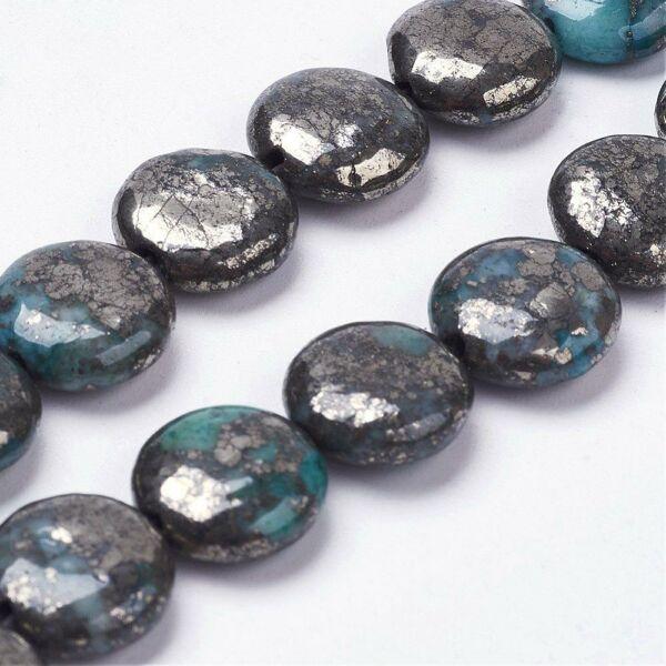 Pirit lapos ásvány medál (12mm)