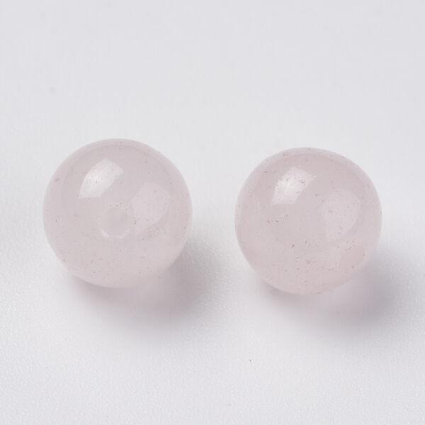 Rózsakvarc félig fúrt ásványgyöngy (8mm)