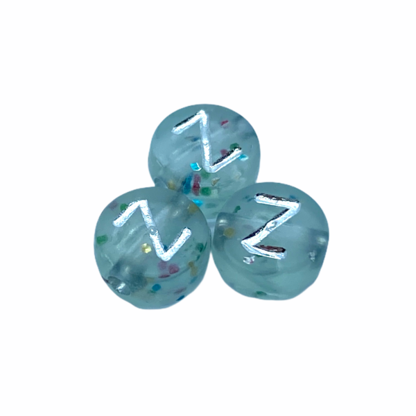 """Műanyag glitterrel díszített kör """"Z"""" betűgyöngy (7mm)"""
