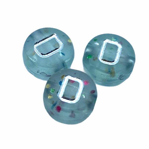 """Műanyag glitterrel díszített kör """"D"""" betűgyöngy (7mm)"""