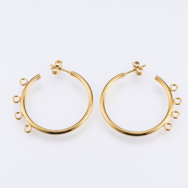 Nemesacél arany színű kör alakú hurkos fülbevaló alap