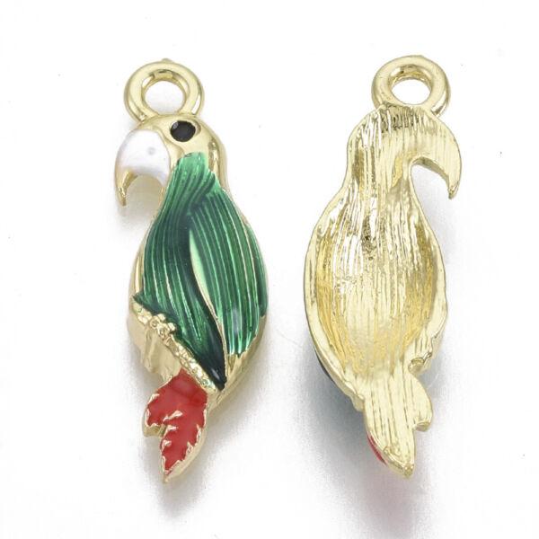 Arany zománcozott papagáj medál