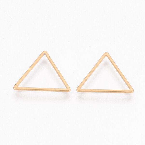 Nemesacél arany színű háromszög medál (16x18mm)