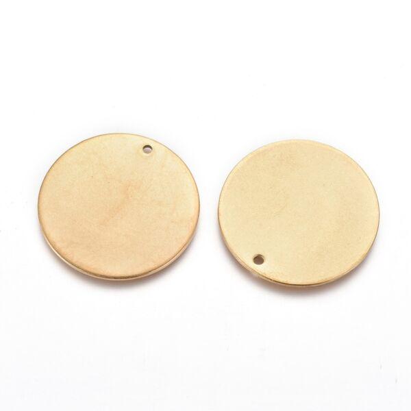 Arany színű nemesacél gravírozható medálka, fityegő (25mm)