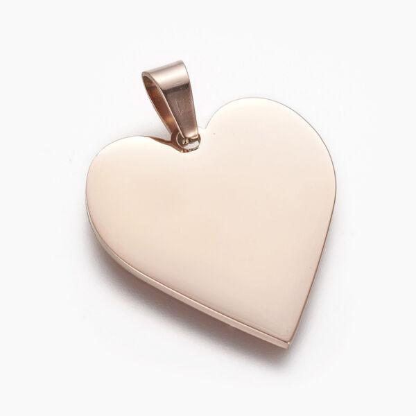 Rozé arany színű nemesacél szív gravírozható medál (25x23mm)