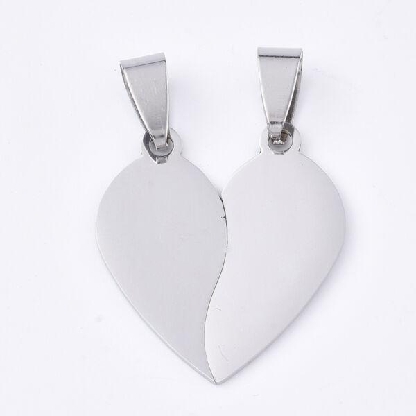 Nemesacél szív alakú páros medál