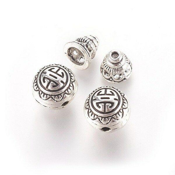 Antikolt ezüst színű guru gyöngy szett