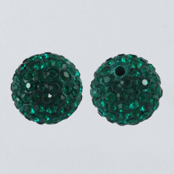 Strasszal díszített emerald gyöngy (10mm)