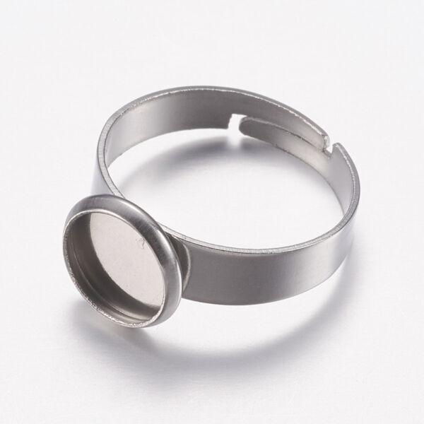Nemesacél tányéros gyűrűralap (8mm) hozzá tartozó üveglencsével