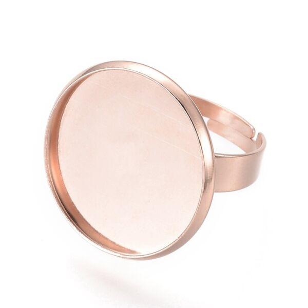 Rozé arany nemesacél tányéros gyűrűralap (20mm) hozzá tartozó üveglencsével