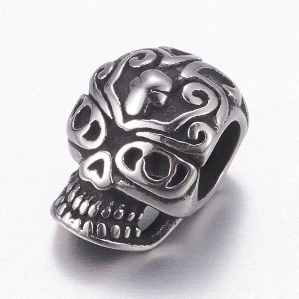 Nemesacél koponya alakú gyöngy (12x9mm)