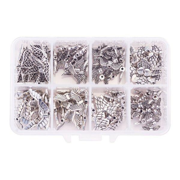 Antikolt ezüst színű angyalszárnyas alkotódoboz (160db)