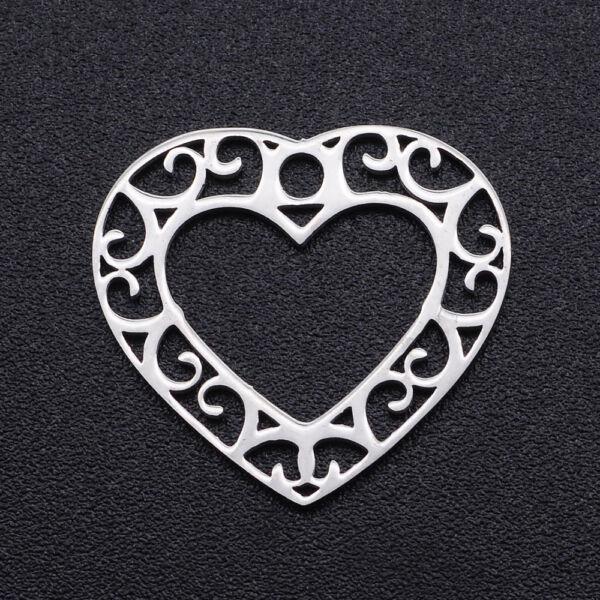 Nemesacél szív alakú medál/kapcsolóelem kapcsolóelem (17x19mm)