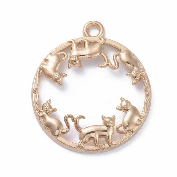 Világos arany színű cicás medál műgyanta öntéshez (34x30mm)