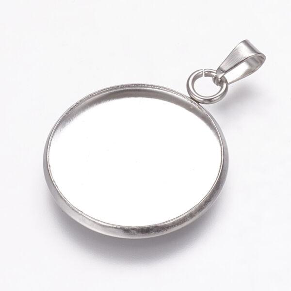 Nemesacél medáltartós medálalap (20mm) hozzá tartozó üveglencsével