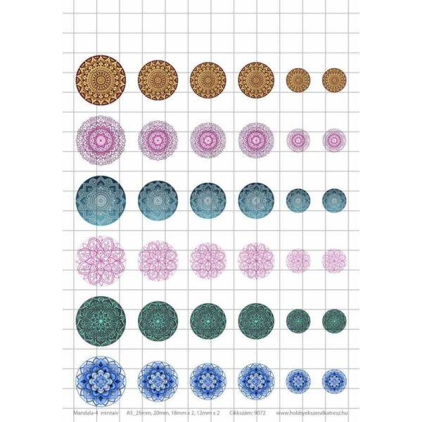 Mandala-4 Üveglencsés ékszerpapír több méret 6 féle minta A5