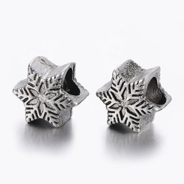 Nemesacél hópihe gyöngy (13x11mm)