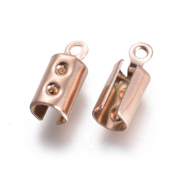 Nemesacél rozé arany színű bőrvégzáró (10x4mm)