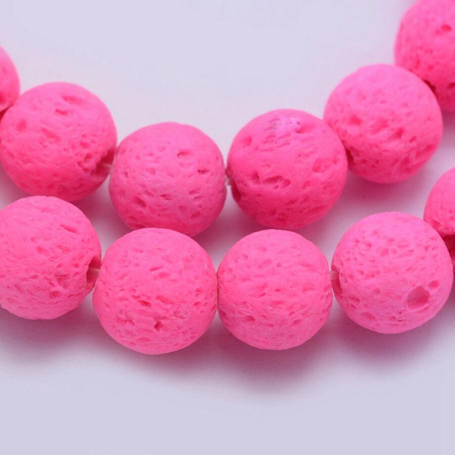 Neon pink lávakő ásványgyöngy (8mm)/10db