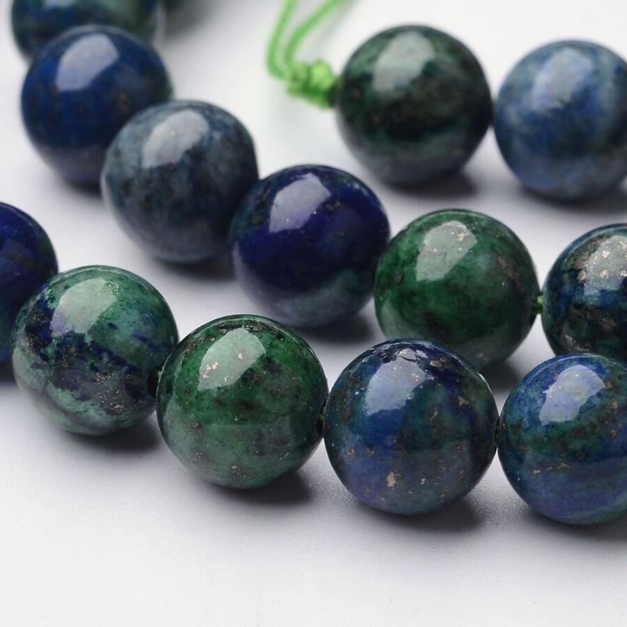 Krizokolla és lapis lazuli ásványgyöngy (8mm)/10db