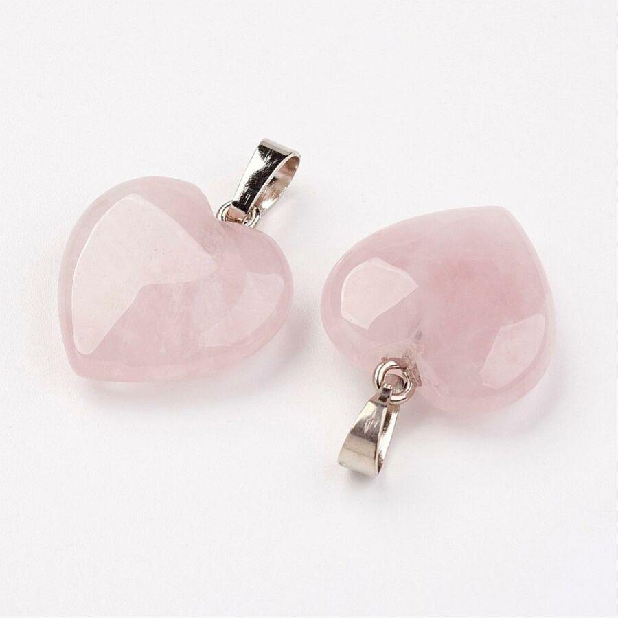 Rózsakvarc szív ásványmedál (20x20mm)