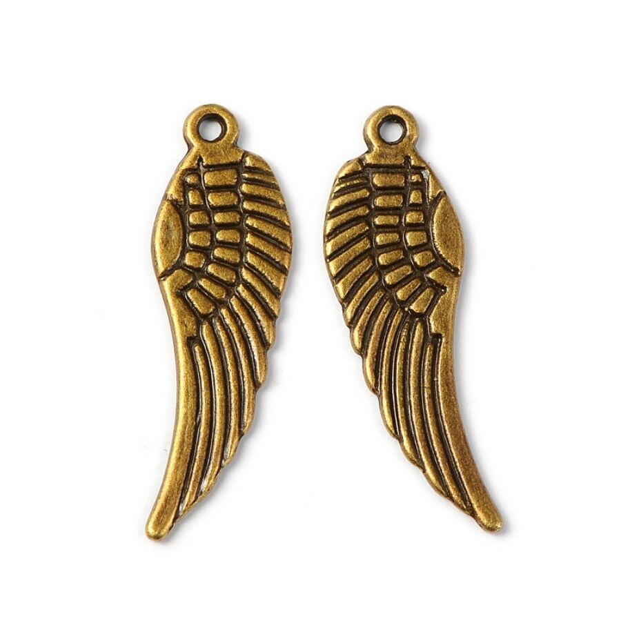 Antikolt bronz színű szárny fityegő
