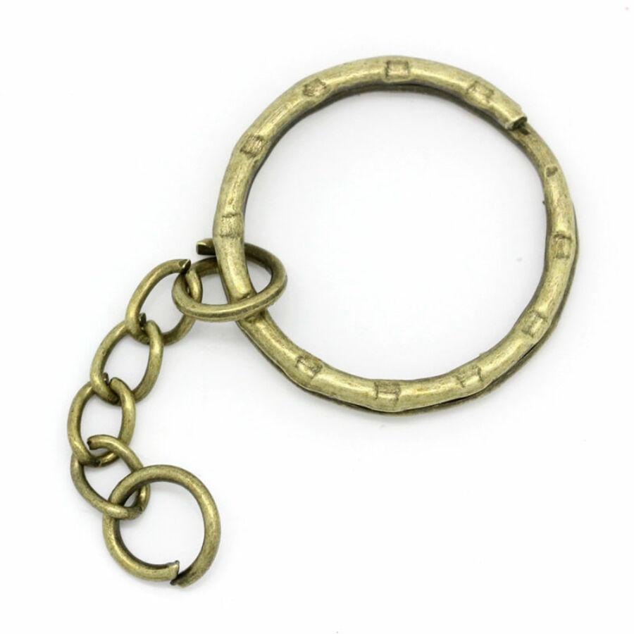 Bronz színű kulcstartókarika lánccal