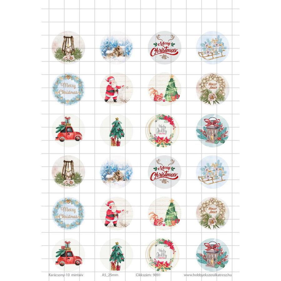 Karácsony-10 Üveglencsés ékszerpapír 25mm 12 féle minta A5