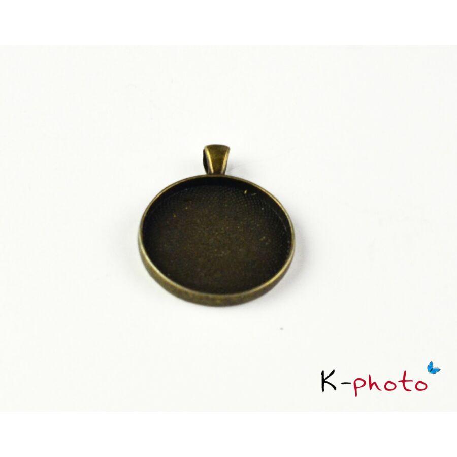 Antikolt bronz színű sima medálalap (30mm)