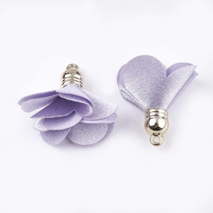 Lila színű virág alakú bojt (30x30mm)