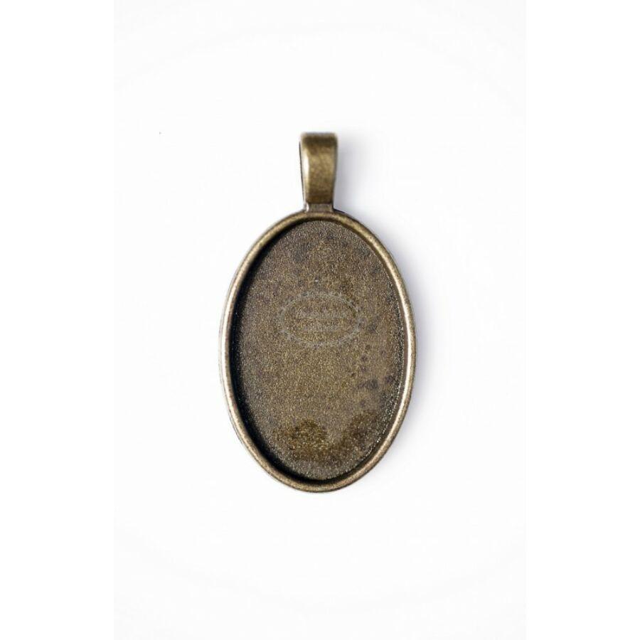 Antikolt bronz színű sima medálalap (20x30mm)