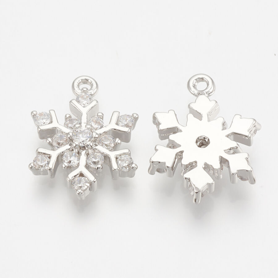 Ezüst színű hópihe cirkónia fityegő