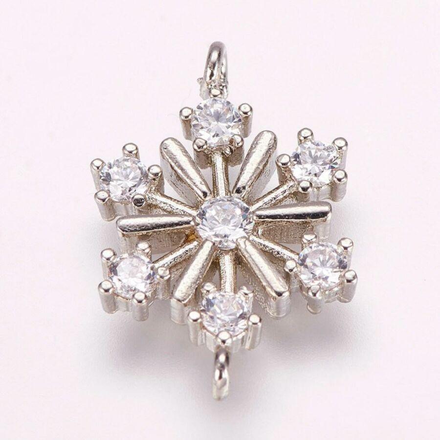 Ezüst színű hópihe cirkónia kapcsolóelem