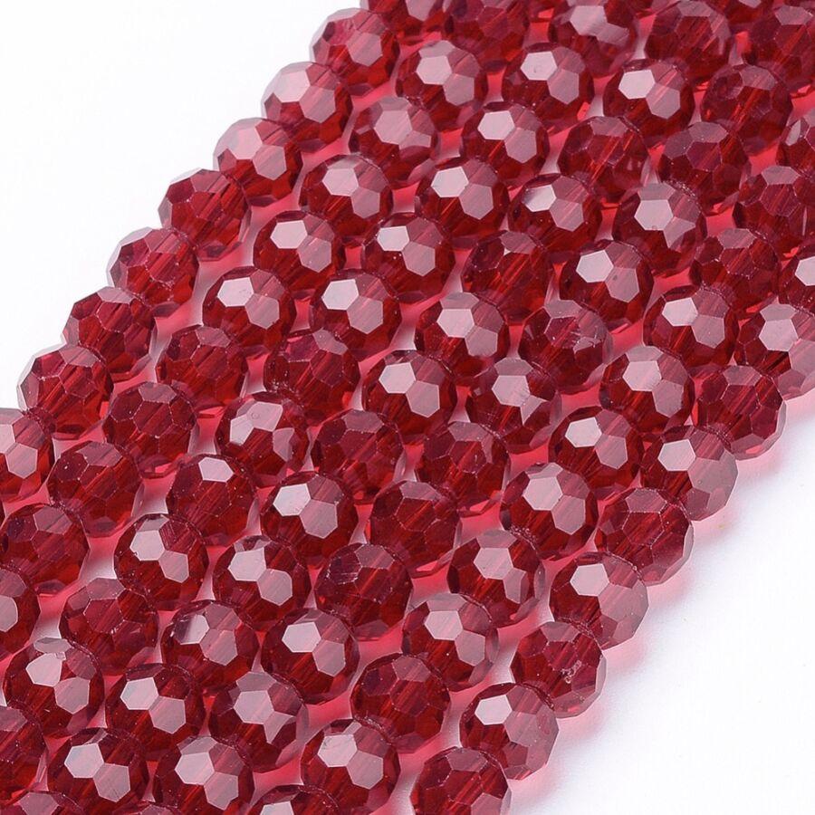 10db Piros színű csiszolt üveggyöngy (6mm)