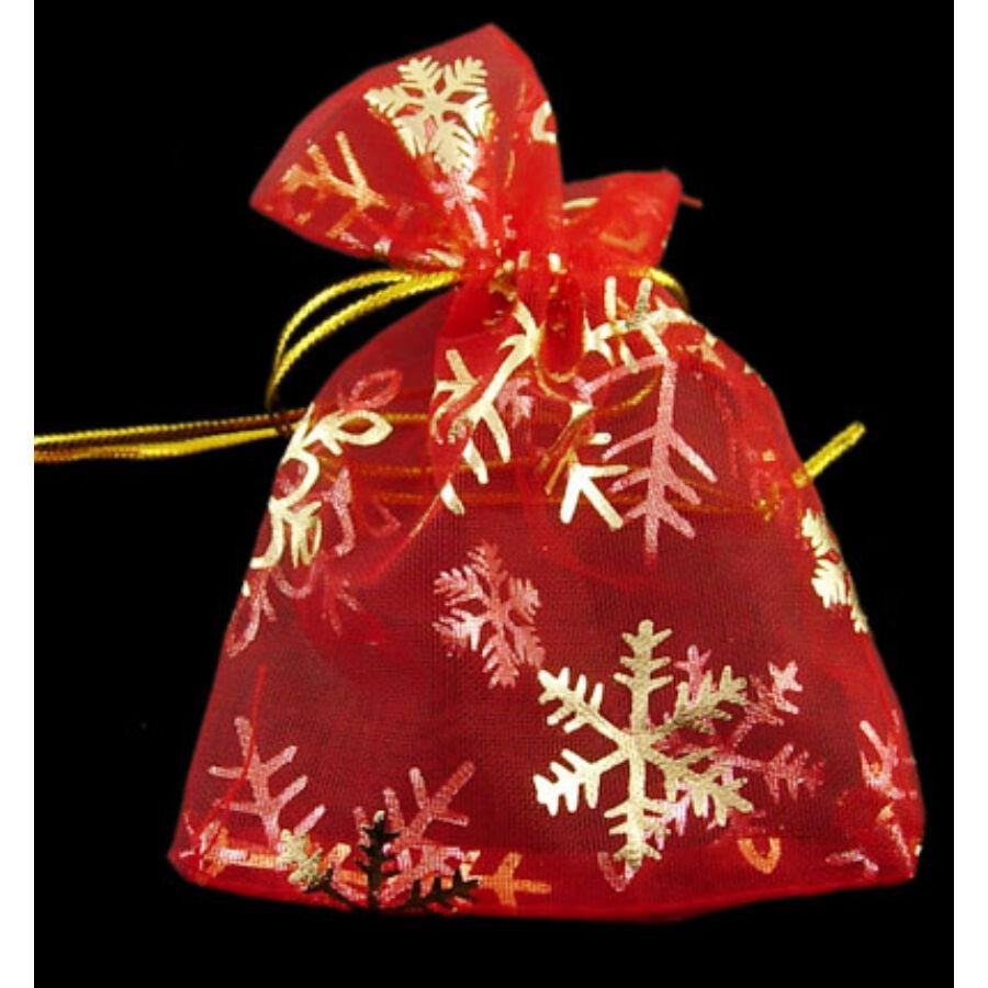 Piros karácsonyi organza tasak (12x10cm)