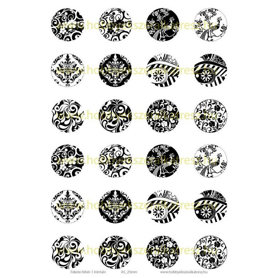 Fekete-fehér-1 Üveglencsés ékszerpapír 25mm 12 féle minta A5
