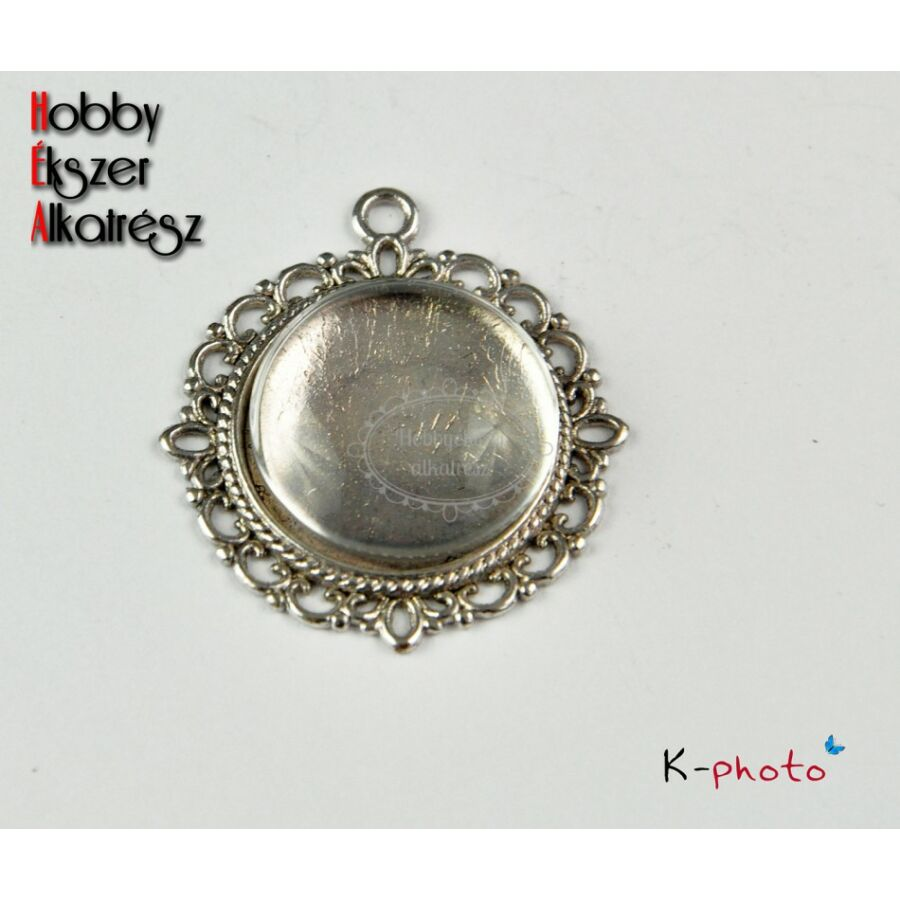 Antikolt ezüst színű díszes medálalap (20mm) (hagyományos) hozzátartozó üveglencsével