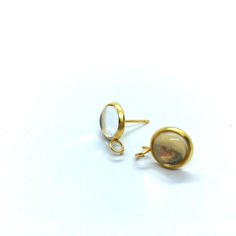 Arany színű nemesacél bedugós tovább építhető fülbevalóalap (8mm) hozzá tartozó üveglencsével