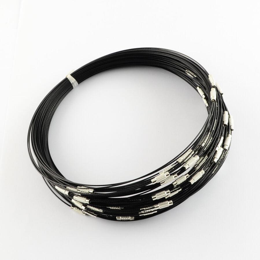 Fekete rozsdamentes acél drót nyaklánc