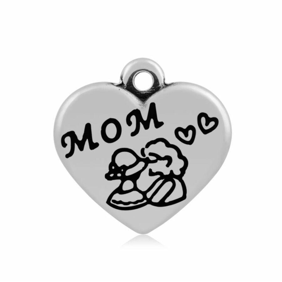 316-os Nemesacél mom /anya szív fityegő